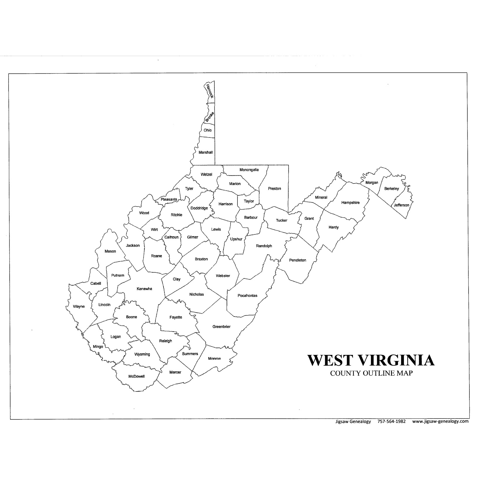 West Virginia County Map JigsawGenealogy
