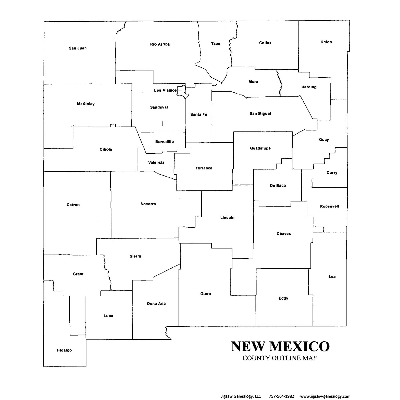 New Mexico County Map JigsawGenealogy