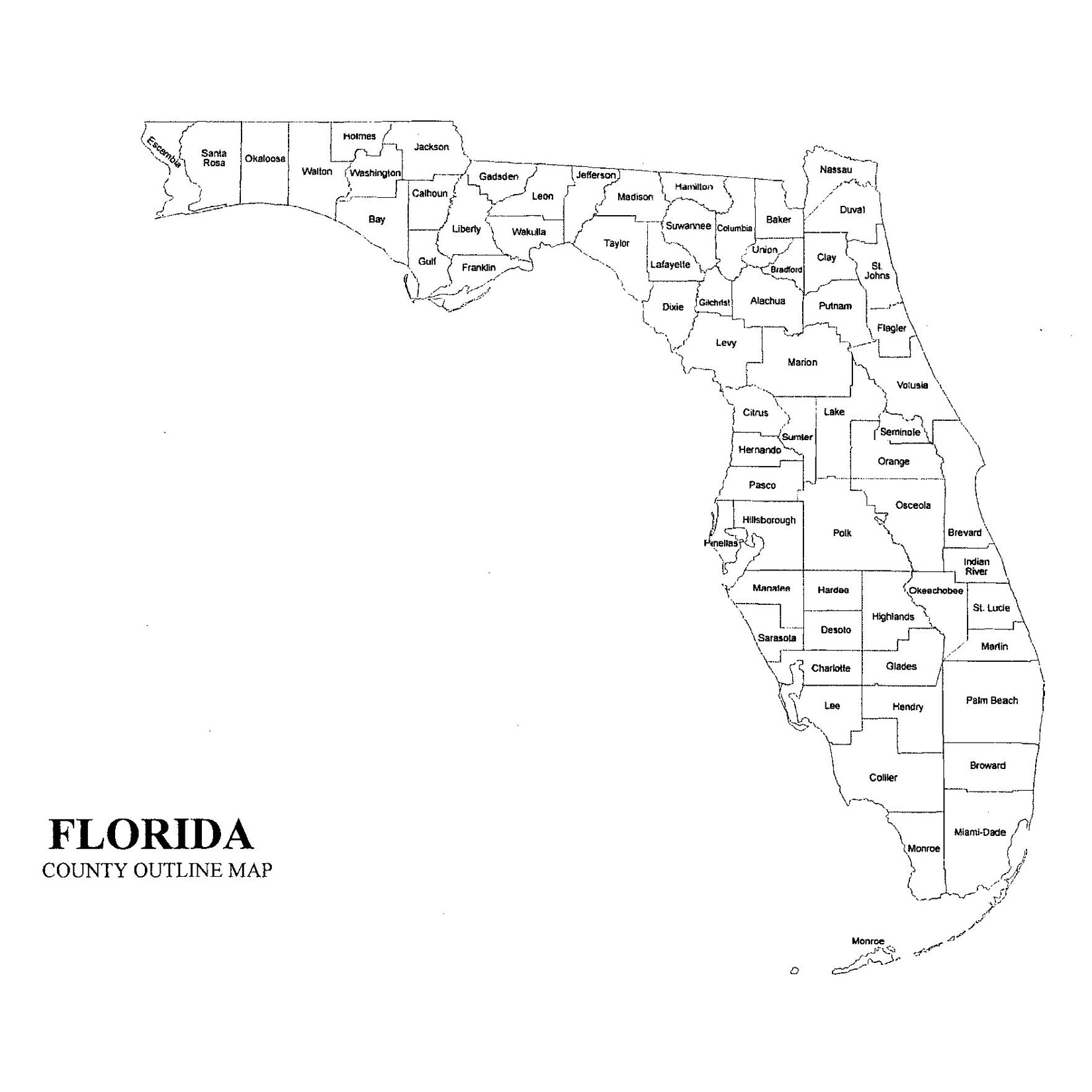 Florida Map By County.Florida County Map Jigsaw Genealogy