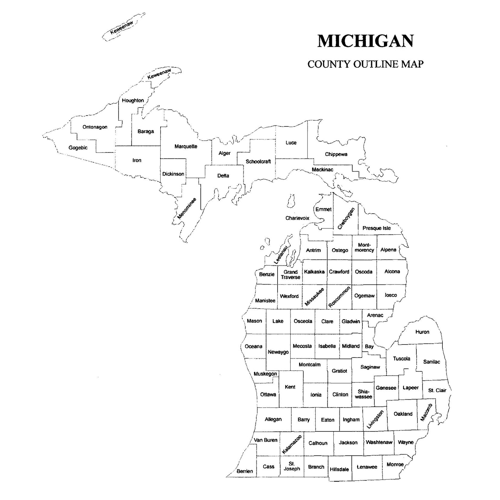 Michigan County Map JigsawGenealogy - Michigan county map