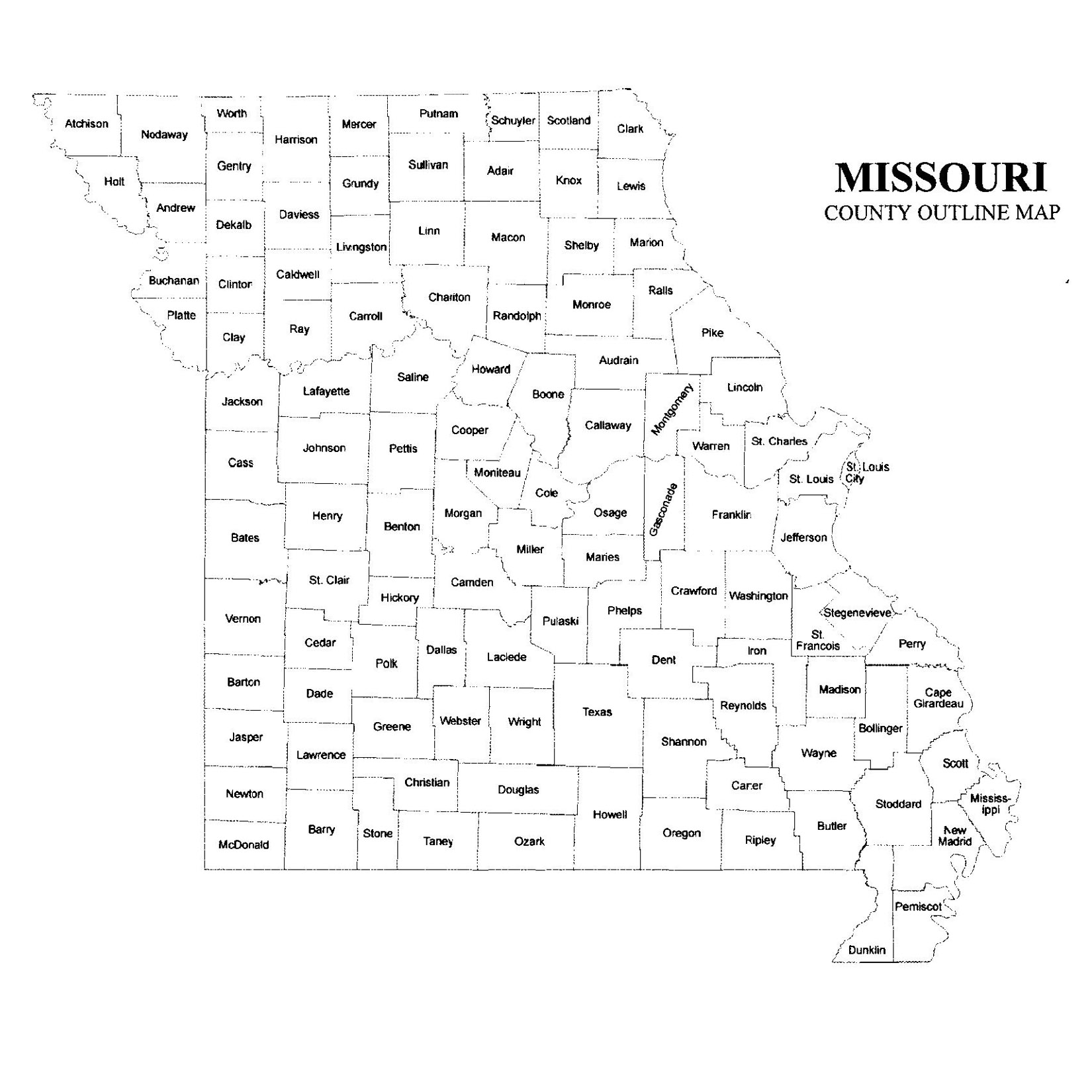 Missouri County Map JigsawGenealogy - Missouri county map