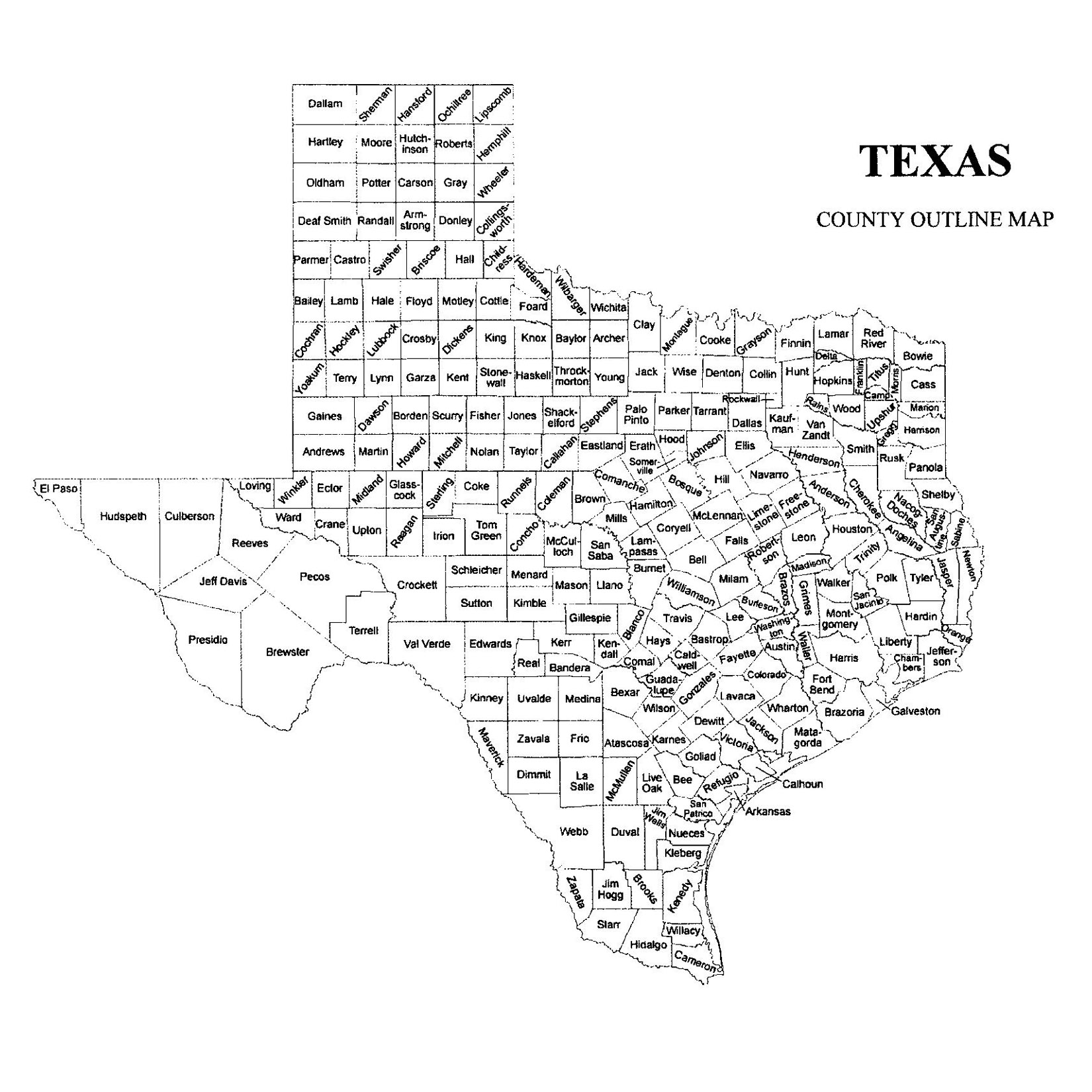 Texas County Map JigsawGenealogy - Map of texas counties
