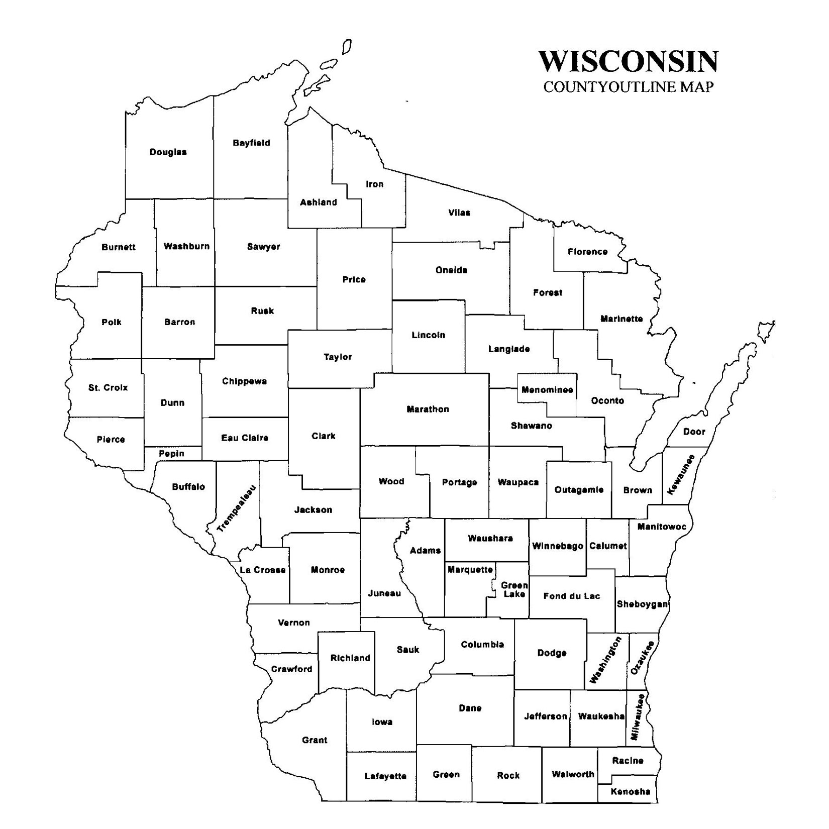 Wisconsin County Map JigsawGenealogy